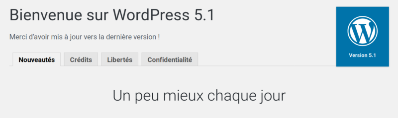 Mise à jour WordPress à la version 5.1